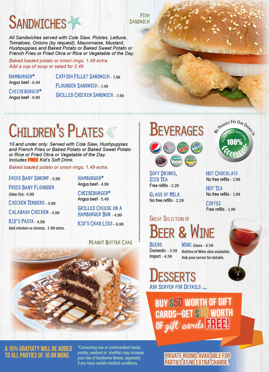 Seafood Cafe Menu Stockbridge Ga